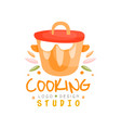 cooking studio logo design kitchen emblem can be vector image vector image