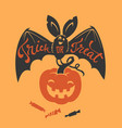 creepy bat with trick or treat phrase hand written vector image