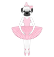 Cute french bulldog in dress like ballerina Hand vector image