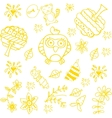 Doodle art for kids yellow vector image