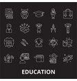 education editable line icons set on black vector image vector image