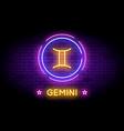 gemini zodiac symbol in neon style on a wall vector image