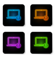 glowing neon laptop and lock icon isolated on vector image vector image