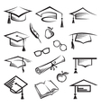 graduation caps vector image