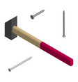 hammer and nails in 3d vector image