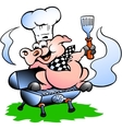 Hand-drawn of an chef pig standing on a bbq barrel vector