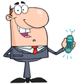 happy businessman with phone ringing vector image vector image