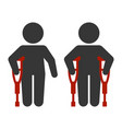 injured man with crutches icon set vector image