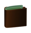 leather purse brown green banknotes are visible vector image vector image