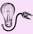 Lightbulb and plug vector image