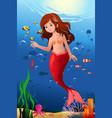 little mermaid in ocean vector image
