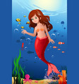 little mermaid in the ocean vector image