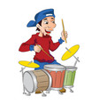 man playing drums vector image