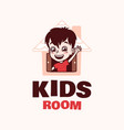 modern professional logo kids room in pink theme vector image