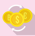 money coin exchange icon flat style vector image