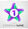 Number one logo symbol in the colorful star on vector image