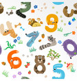 Numbers like European Forest Animals seamless patt vector image vector image