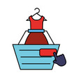 online shopping cart dress clicking vector image