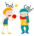 Opposite adjectives hot and cold vector image vector image