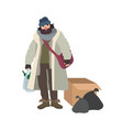 poor homeless man dressed in ragged clothes vector image