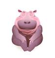 realistic cute cartoon hippopotamus animal sitting vector image