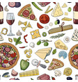 seamless hand drawn pattern with italian food vector image vector image
