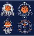 set of basketball club badge graphic vector image