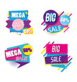 set of mega sale emblems memphis style vector image