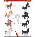shadow game with funny horse characters vector image vector image