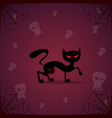 silhouette black cat and skull happy halloween vector image