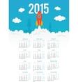 Startup rocket in flat style 2015 calendar vector image