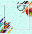 stationery and an apple background vector image vector image