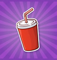sticker red paper cup with soda and straw vector image vector image