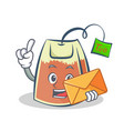 tea bag character cartoon with envelope vector image vector image