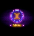 the gemini zodiac symbol in neon style on a wall vector image vector image