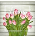Tulips on a white wood background EPS 10 vector image vector image