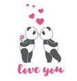 two love pandas with hearts vector image vector image