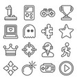 video game and controller icons set line style vector image vector image