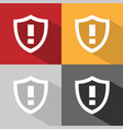 warning shield icon with shade on colored vector image vector image