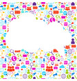 white cloud with social media icons background vector image vector image
