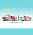 winter day city flat poster vector image vector image