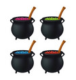 witch cauldron with colorful potion bubbling vector image