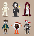 Halloween Ghost Character Design Set vector image