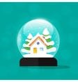 Snow globe house snowglobe home merry christmas vector image