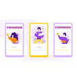 apps review onboarding mobile app page screens set vector image