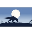 At night Tyrannosaurus scenery of silhouettes vector image