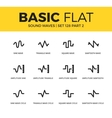 basic set sound waves icons vector image vector image