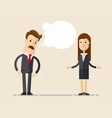 businessman boss shouts at the woman employee vector image vector image