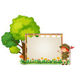 camping boy on wooden banner vector image vector image