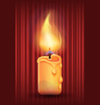 candle with bright light retro style curtains vector image